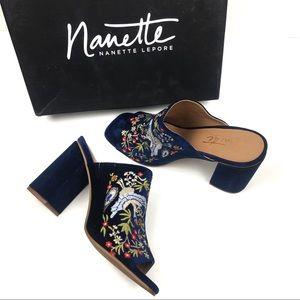 Nanette Lepore Marsha Embroidered Mules Blue 10M